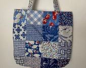 Charm Street Market Tote Kit - DIY bag Kit -  Feed Sacks True Blue by Moda - Kit with blue print lining and straps with interfacing