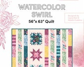 Moda Pattern - Water Color Swirl - Create Joy Project by Laura Muir - Quilt pattern for reversible quilt with panel sold separately