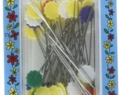 """Collins Flat Flower Pins - 2"""" - 50 pcs - Straight pins for holding fabric layers together - Assorted colors - great when Rotary Cutting"""