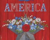 Moda Fabric -America the Beautiful by Deb Strain - 1/2 yard - 19980 11 - Red Panel - Cotton Fabric