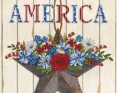 Moda Fabric -America the Beautiful by Deb Strain - 1/2 yard - 19980 12 - Off white Panel - Cotton Fabric
