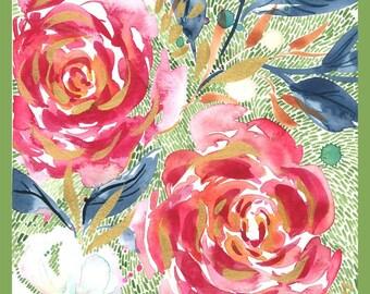 "Moda Fabric - Moody Bloom Digital Panel - Create Joy Project by Laura Muir - Dashing Darling - Cotton Fabric - 32""x45"""