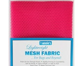 "Mesh Fabric - by Annie - 18""x54"" - 100% polyester - Color - Lipstick (hot pink) - Mesh Fabric by Annie"