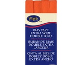 Extra Wide Double Fold Bias Tape - by Wrights  - 1/2 inch - 55 Polyester/45 Cotton -  Orange Peel 206 2197