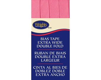 Extra Wide Double Fold Bias Tape - by Wrights  - 1/2 inch - 55 Polyester/45 Cotton -  Candy Pink 206 216