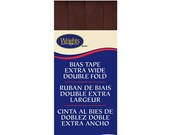 Extra Wide Double Fold Bias Tape - by Wrights  - 1/2 inch - 55 Polyester/45 Cotton -  Mocha 206 765
