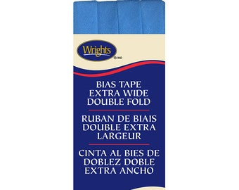Extra Wide Double Fold Bias Tape - by Wrights  - 1/2 inch - 55 Polyester/45 Cotton -  Porcelain Blue 206 121