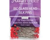 "IBC Glass Head Silk Pins - 1 3/8"" sharp straight pins"