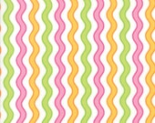 Moda Fabric - Confetti Multi-color Wavy Lines - by Me and My Sister - 1/2 yard - 22321-28 Pastel Print - Cotton Fabric