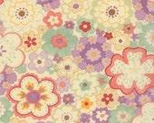 Moda Fabric - Mimi Pops Flowers Cream Lavender  Cotton Fabric 16095 14 - 1/2 yard