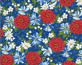 Moda Fabric -America the Beautiful by Deb Strain - 1/2 yard - 19982 14  red, white, blue flowers - Cotton Fabric