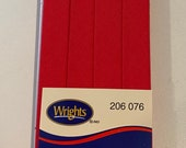 Extra Wide Double Fold Bias Tape - by Wrights  - 1/2 inch - 55 Polyester/45 Cotton - Scarlet 206 076