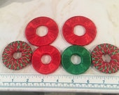 Pattern weights - Use instead of Pins when Cutting out a Sewing Pattern - Or Just Hold Your Book Open-Red/green - Satin Ribbon