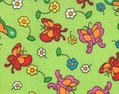 Moda Fabric Berenstain Bears - Welcome To Bear Country  Cotton Fabric - Green Butterflies - 55505 16 - 1/2 yard
