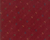 Moda Fabric - On Meadowlark Pond - Kansas Troubles - Dark Red with floral -  1/2 yard - 9594- 13 Dark Red Floral - Cotton Fabric