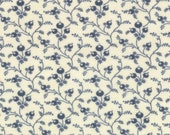 Moda Fabric - Grant Park -  by Minick & Simpson - 1/2 yard - 14777-29 -Navy on ivory floral print- Cotton Fabric