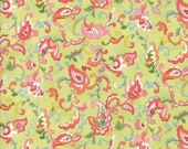 Moda Fabric - Coco by Chez Moi 33392 - 16 - 1/2 yard - Green with Floral design - Cotton Fabric