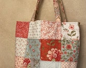 Moda - Charm Street Market Tote Kit - DIY bag Kit -  Porcelain by 3 Sisters - light green print lining and straps with interfacing