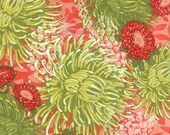 Moda Fabric - Dear Mum  by Robin Pickens - 1/2 yard - 48620-12 Red and Green Mum Print - Cotton Fabric