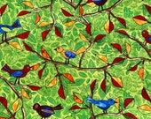 """Hoffman Quilt Fabric - Autumn is for Birds by Hoffman - Color lime green with bright colors 44"""" wide - Hoffman - 1/2 yard"""