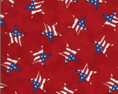 Moda Fabric -America the Beautiful by Deb Strain - 1/2 yard - 19988 11  red with patriotric stars - Cotton Fabric