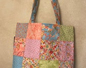 Moda - Charm Street Market Tote Kit - DIY bag Kit -  Coco by Chez Moi - lt. blue print lining and straps with interfacing - Coco