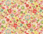 Moda Fabric - Coco by Chez Moi 33391 - 16 - 1/2 yard - Pale Lime Green with Floral design - Cotton Fabric