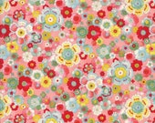 Moda Fabric - Coco by Chez Moi 33391 - 13 - 1/2 yard - Coral Pink with Floral design - Cotton Fabric
