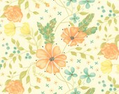 Moda Fabric - Refresh by Sandy Gervais - 17860 16 -Ivory with peach and coral flowers - cotton fabric - 1/2 yard