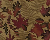 Moda Fabric - Autumn Reflections - Holly Taylor - Autumn Leaves -  1/2 yard - 6711 - 13 Tan with Autumn Leaves - Cotton Fabric