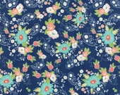 Moda Fabric - Tuppence by Shannon Gillman Orr - 1/2 yard - 45510-13 Navy background Mint, Yellow, coral, white Print - Cotton Fabric