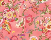 Moda Fabric - Coco by Chez Moi 33390 - 12 - 1/2 yard - Coral Pink with Floral design - Cotton Fabric