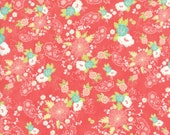 Moda Fabric - Tuppence by Shannon Gillman Orr - 1/2 yard - 45510-18 Light Coral background Mint, Yellow, white Print - Cotton Fabric
