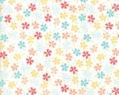 Moda Fabric - Lulu Lane by Corey Yoder - 1/2 yard - 29023 11 White background with Coral, Aqua, yellow flowers - Cotton Fabric