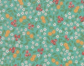 Moda Fabric - Cultivate Kindness by Deb Strain for Moda - 19932 14 - Teal with small floral print - 100% cotton fabric - 1/2 yard pricing