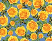 Moda Fabric - Texas Trails by Sara Khammash - 1/2 yard - 11312-16 Blue with yellow roses and monarch butterflies - Cotton Fabric