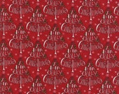 Moda Fabric - Hearthside Holiday by Deb Strain - 1/2 yard - 19831-14 Holly Jolly Tree Red Print - Cotton Fabric