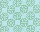 Moda Fabric - Aria by Kate Spain - 1/2 yard - 27232 - 22 Light aqua with green leaf print - Cotton Fabric