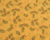 Moda Fabric - Merry and Bright by Sandy Gervais - 1/2 yard - Yellow with holly leaves and berries - cotton fabric