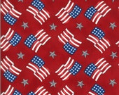 Moda Fabric -America the Beautiful by Deb Strain - 1/2 yard - 19986 11  Red with flags and stars - Cotton Fabric