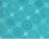 """Moda Fabric - Solana by Robin Pickens - 48682 17 - Cotton Fabric - Aqua with circles and squares - 44"""" wide - Solana"""