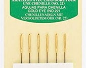 Clover Gold Eye Chenille Needles - Sizes 22 - 5 count - Used in Wool applique and embroidery - big eye - sharp point