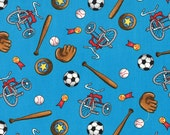 Moda Fabric - Berenstain Bears - Welcome To Bear Country  Cotton Fabric - Turquoise Blue - 55504 14 - Fat Quarter
