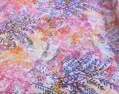 "Batik - Bali Batik Hand Dyed by Hoffman - Color Camelia - 100% cotton  pink batik, pink, purple leaves - 44"" wide - Hoffman Batik - 1/2 yard"