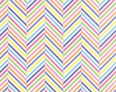 Moda Fabric - White with Multi-colored chevron lines - Dot Dot Dash by Me and My Sister - 1/2 yard - 22266-20 - Cotton Fabric