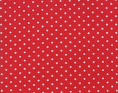 Moda Fabric - Good Tidings by Brenda Riddle - 1/2 yard - 18666-17 Red with white dots - Cotton Fabric