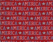 Moda Fabric -America the Beautiful by Deb Strain - 1/2 yard - 19983 11  red with the word America - Cotton Fabric