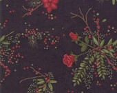 Moda Fabric - Winter Manor - Holly Taylor - Roses and Greenery on black -  1/2 yard - 6771 - 17 Black with Roses & Greenery - Cotton Fabric