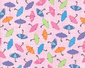 Moda Fabric - Pouring Pink - Rainy Day by Me and My Sister - 1/2 yard - 22291-15 Small Umbrellas Print - Cotton Fabric