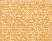 Moda Fabric - Cultivate Kindness by Deb Strain for Moda - 19933 18 -  Gold with off white script words - 100% cotton - 1/2 yard pricing
